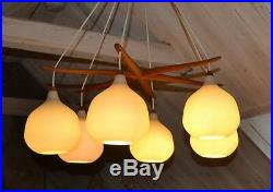 1950S LUXUS VITTSJO CHANDELIER Mid Century ATOMIC Original Swedish LARGE Light