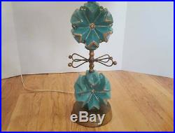 1955 Atomic Midcentury Lamp Aqua with Tiered Shade by C. Miller