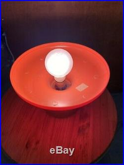60s Orange Atomic Age Mushroom Table Lamp Psychedelic Plastic Mid Century Modern