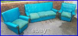 ATOMIC MID CENTURY 60s Retro Kingfisher Blue 3 Three Piece Suite Sofa Arm Chair