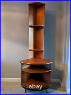 A Mid century G Plan Fresco corner display shelf unit in teak atomic hairpin le