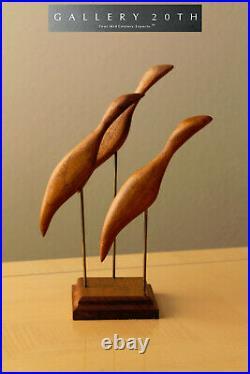 Atomic MID Century Modern Abstract Birds Teak Sculpture! Vtg 50s 60s Danish Art