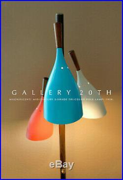 Atomic MID Century Tri-color Floor Pole Lamp! Triennale Vtg Danish Modern 1950
