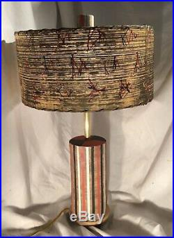 Atomic, Mid Century Ceramic Pottery With Fiberglass Shade, Table Lamp