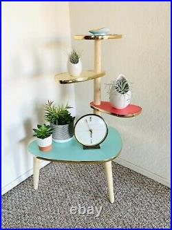 Atomic Plant Stand Mid Century Side Table Formica End Table Vintage 50s 60s