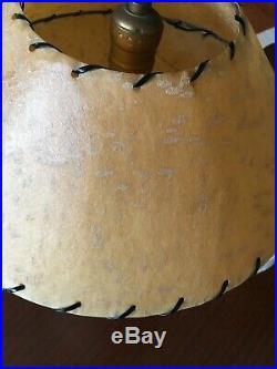 Atomic mid century chalkware lamp fiberglass shade Majestic Capri DuBarry Plasto