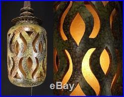CERAMIC SWAG LAMP 1950's MID CENTURY MODERN Light Ceiling Fixture hanging ATOMIC