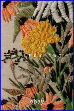 COOL! MID CENTURY MODERN FLOWERS TAPESTRY! VTG ART 50's 60'S WALL DECOR ATOMIC