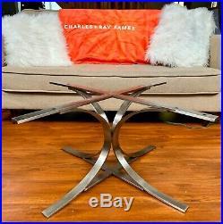 Chrome Metal Coffee Table BASE ONLY Milo Baughman Style Atomic Mid Century