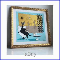 FREE SHIPPING Mid Century Atomic Cat El Gato Wall Art Original Painting