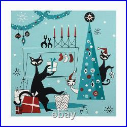 FREE SHIPPING Xmas Atomic Cats Mid Century Mod El Gato Art Acrylic Painting
