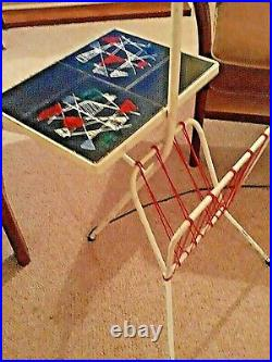 French Atomic Mid Century Table/lamp/Magazine Rack Original Rewired and Working
