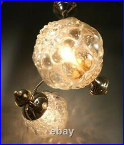 French Mid-Century Modern Chandelier Chrome Bubble Glass Space Age Atomic 1960s