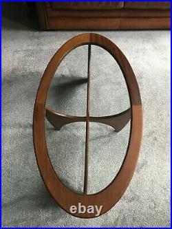 G Plan Atomic Coffee Table oval teak & glass 60s 70s retro vintage mid century