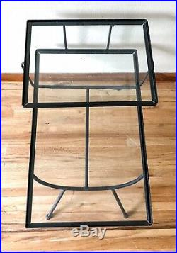 George Nelson Table End Step Arbuck Vtg Mid Century Wrought Iron Glass Salterini