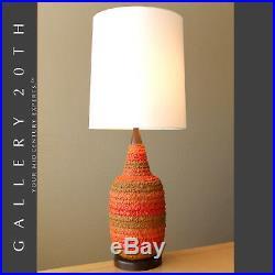Hot! MID Century Danish Modern Atomic Orange Table Lamp! Vtg 50's Raymor Googie