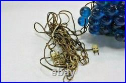 Lucite Grapes Swag Light Hanging Lamp Blue Blue Large Vintage Atomic Mid-Century