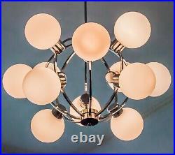 MID CENTURY 1970s SPUTNIK ATOMIC CHROME 12 LIGHT CHANDELIER WHITE GLASS GLOBES
