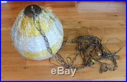 MID-CENTURY ATOMIC BEEHIVE Spaghetti Fiberglass Shade Hanging Swag Lamps Light