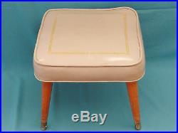 MID CENTURY MODERN ATOMIC SPACE AGE ERA SQUARE VINYL SEAT STOOL with GILT DECOR