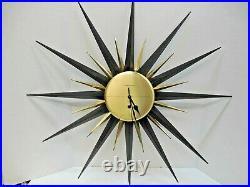 MID CENTURY MODERN WESTCLOX Quartz STARBURST SUNBURST ATOMIC WALL CLOCK