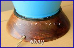 MID Century Danish Modern Blue Porcelain Lamp! 50's Vtg Atomic Wegner Rosewood