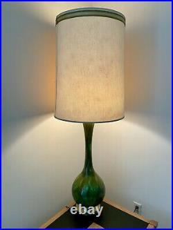 MID Century Danish Modern Green Drip Glazed Porcelain Lamp 50's Vtg Atomic