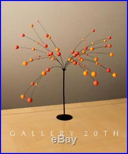 MID Century Modern Orange Ball Kinetic Sculpture! 60's Abstract Art Vtg Atomic