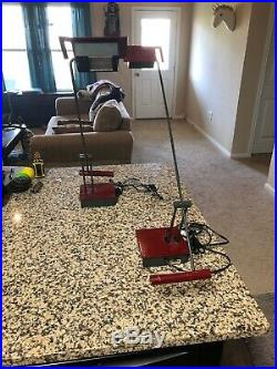 MID Century Modern Red Desk Lamp Italian Stilnovo Vtg 80's Lighting Atomic X2
