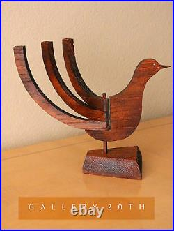 MID Century Modern Sculpture Candle Holder! 1950's Redwood Bird Atomic Retro