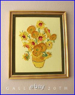 MID Century Modern Van Gogh Sunflowers Tapestry! Vtg Art 60's Wall Decor Atomic