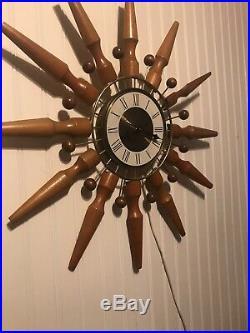 MID Century Seth Thomas Intrigue Starburst Atomic Sputnik Teak Wall Clock 24