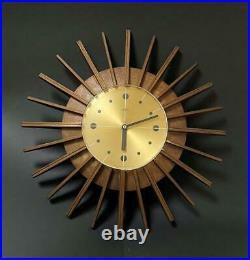 MID Century Vintage Smiths Starburst Faux Wood Wall Clock Atomic Space Age