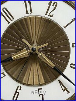 MidCentury ELGIN Atomic Starburst Wall Clock GERMANY EAMES 25 BRASS WOOD GRAIN