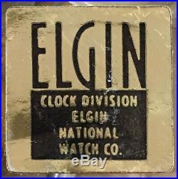 MidCentury Elgin Atomic Star Burst Wall Clock 30 Retro Wood & Gold Tone Tested