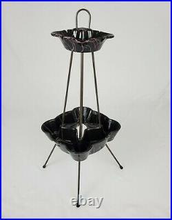 Mid-Century Ashtray Planter Stand Hull Black Pink Ceramic Atomic 1950's Vintage