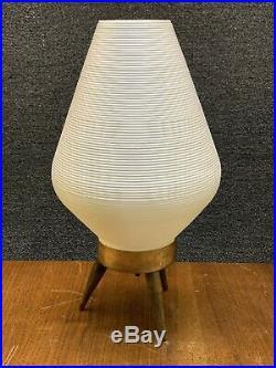 Mid Century Atomic White Plastic Beehive 3-Toe Tripod Table Lamp 14