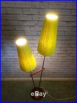 Mid Century Double Floor Light 1970s Standard Lamp Atomic Rocket Age Retro
