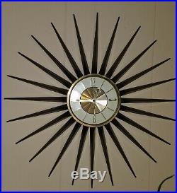 Mid Century Elgin Starburst/Sunburst Atomic 23 Wind-Up Wall Clock Metal WORKS
