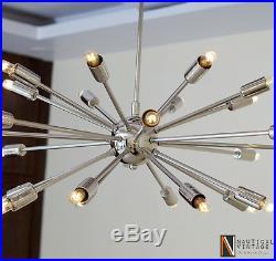 Mid Century Modern 24 Arm Chrome Brass Sputnik atomic chandelier starburst light