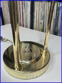 Mid Century Modern ATOMIC Gold Tone Kovacs Sonneman Style Saturn Lamp UFO Saucer