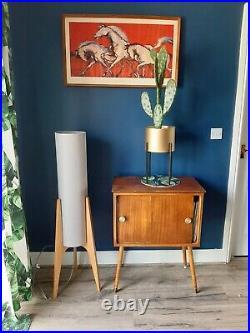 Mid Century Modern Astro Rocket atomic 1960s Floor Lamp Light Grey Shade Wood Ba