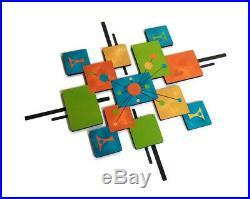 Mid Century Modern Atomic Cosmic Wood Metal Wall Sculpture Square Wall Art 40x33