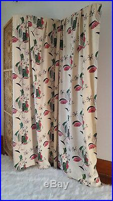 Mid Century Modern Atomic Drapes Curtains Eames Era Abstract Rayon 2 Panels