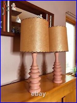 Mid Century Modern Atomic Sculpted Porcelain Vintage Lamps PINK Fiberglass Shade