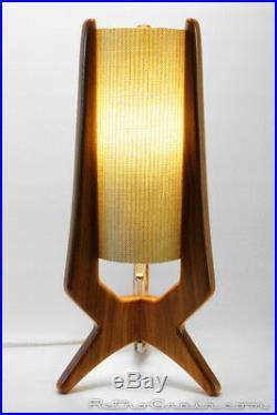 Mid-Century Modern Atomic Table Lamp Walnut Aqua Shade by Retro Grain