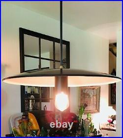 Mid Century Modern Atomic UFO 20 Saucer Pendant Ceiling Light Fixture Excellent