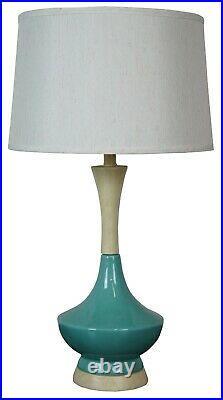 Mid Century Modern Blue Ceramic & Pickled Oak Desk Table Lamp Atomic Boho MCM