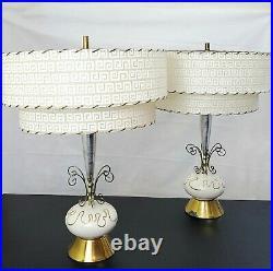 Mid Century Modern Ceramic Atomic Lamp Set Tier Fiberglass Shades Vintage MCM