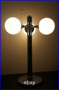 Mid Century Modern Chrome 3 Light Globe Space Age Atomic Light Lamp Vintage